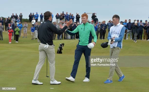Jovan Rebula of Republic of South Africa is congratulated by Robin Dawson of Tramore after beating him in the Final of The Amateur Championship at...