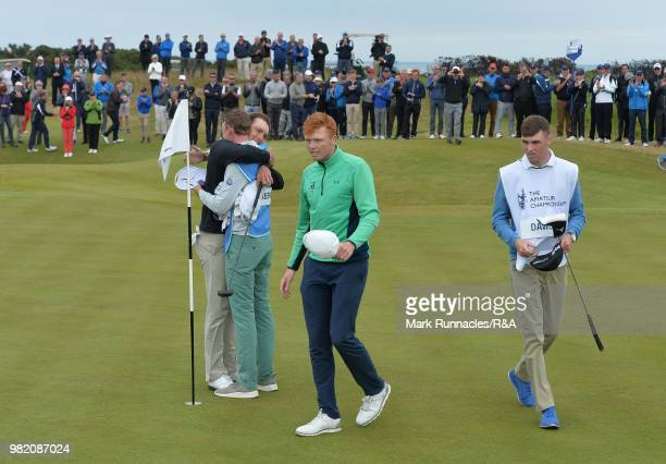 Jovan Rebula of Republic of South Africa is hugged by his caddie after beating Robin Dawson of Tramore in the Final of The Amateur Championship at...