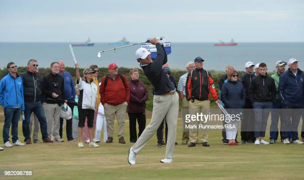 Jovan Rebula of Republic of South Africa plays his second shot at the 15th green in his match with Robin Dawson of Tramore in the Final of The...