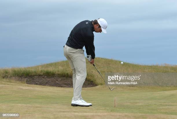 Jovan Rebula of Republic of South Africa plays his second shot at the 9th hole in his match with Robin Dawson of Tramore in the Final of The Amateur...