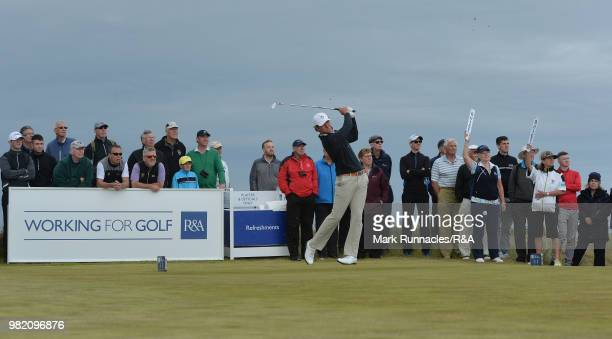 Jovan Rebula of Republic of South Africa plays his second shot at the 12th hole in his match with Robin Dawson of Tramore in the Final of The Amateur...
