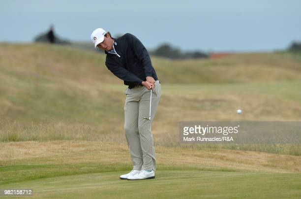 Jovan Rebula of Republic of South Africa plays his second shot at the 6th hole in his match with Robin Dawson of Tramore in the Final of The Amateur...