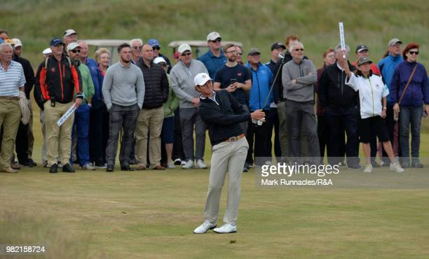 Jovan Rebula of Republic of South Africa plays his second shot at the 13th hole in his match with Robin Dawson of Tramore in the Final of The Amateur...