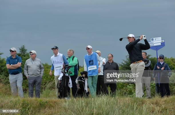 Jovan Rebula of Republic of South Africa plays his tee shot at the 15th green in his match with Robin Dawson of Tramore in the Final of The Amateur...