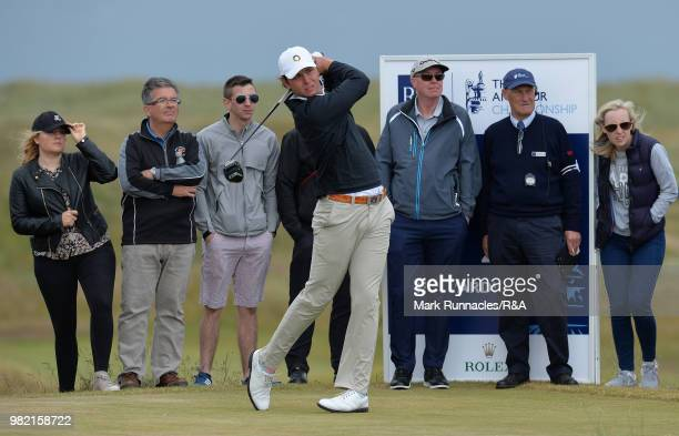 Jovan Rebula of Republic of South Africa plays his tee shot at the 12th hole in his match with Robin Dawson of Tramore in the Final of The Amateur...