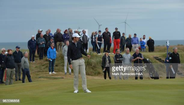 Jovan Rebula of Republic of South Africa putting at the 11th green in his match with Robin Dawson of Tramore in the Final of The Amateur Championship...