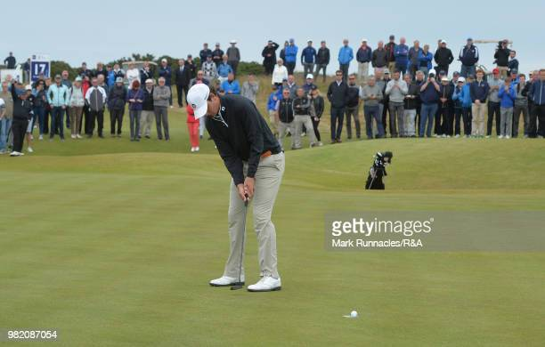 Jovan Rebula of Republic of South Africa putting at the 16th for the win over Robin Dawson of Tramore in the Final of The Amateur Championship at...