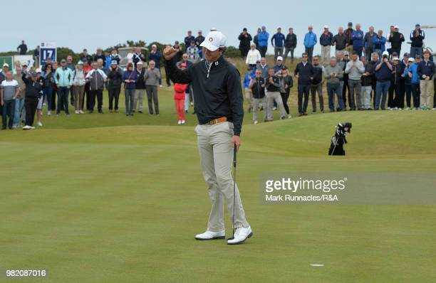 Jovan Rebula of Republic of South Africa reacts at the 16th hole after beating Robin Dawson of Tramore in the Final of The Amateur Championship at...