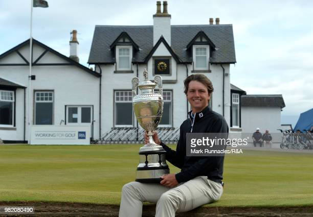 Jovan Rebula of Republic of South Africa with the Amateur Championship trophy at the 18th green after beating Robin Dawson of Tramore in the Final of...