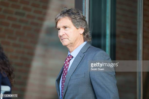 Jovan Vavic former water polo coach at the University of Southern California leaves following his arraignment at Boston Federal Court on March 25...
