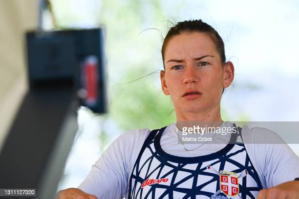 Jovana Arsic of Serbia trains on the rowing machine during the day two of the 2021 World Rowing European Olympic and Paralympic Qualification Regatta...