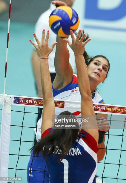 Jovana Brakocevic of Serbia in action against Andrea Kossanyiova of Czech Republic during their women's CEV Volleyball European Championship Group D...