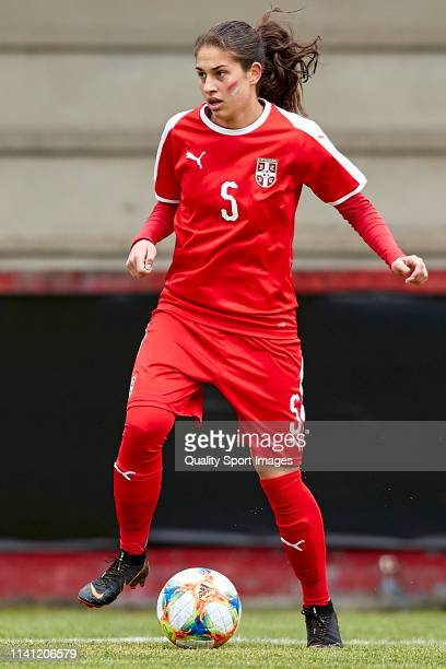 Jovana Miladinovic of Serbia in action during the UEFA Women's U19 European Qualifier match between Republic of Ireland and Serbia at Campo Municipal...