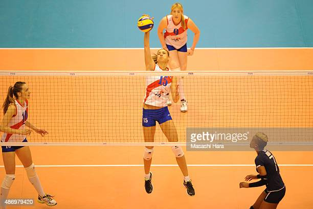 Jovana Stevanovic of Serbia spikes during the match between Kenya and Serbia during the FIVB Women's Volleyball World Cup Japan 2015 at Park Arena...