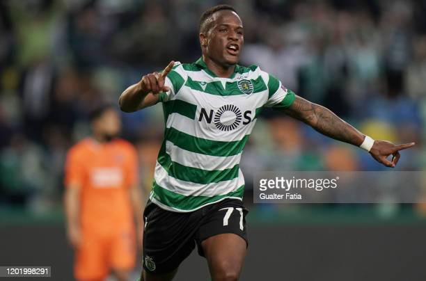 Jovane Cabral of Sporting CP celebrates after scoring a goal during the UEFA Europa League Round of 32 First Leg match between Sporting CP and...