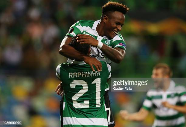 Sporting's forward Jovane Cabral from Cabo Verde celebrates after scoring Sporting's second goal with forward Raphinha from Brazil who scores the...