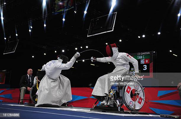 Jovane Guissone Silva of Brazil fences during his Mens Epee Category B Gold Medal match against Chik Sum Tam of Hong Kong China on day 7 of the...