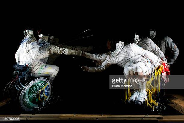 Jovane Silva Guissone in action with Ivan Schwantes during a fencing training session at the Brazil Paralympic team's camp in Sportcity Centre on...