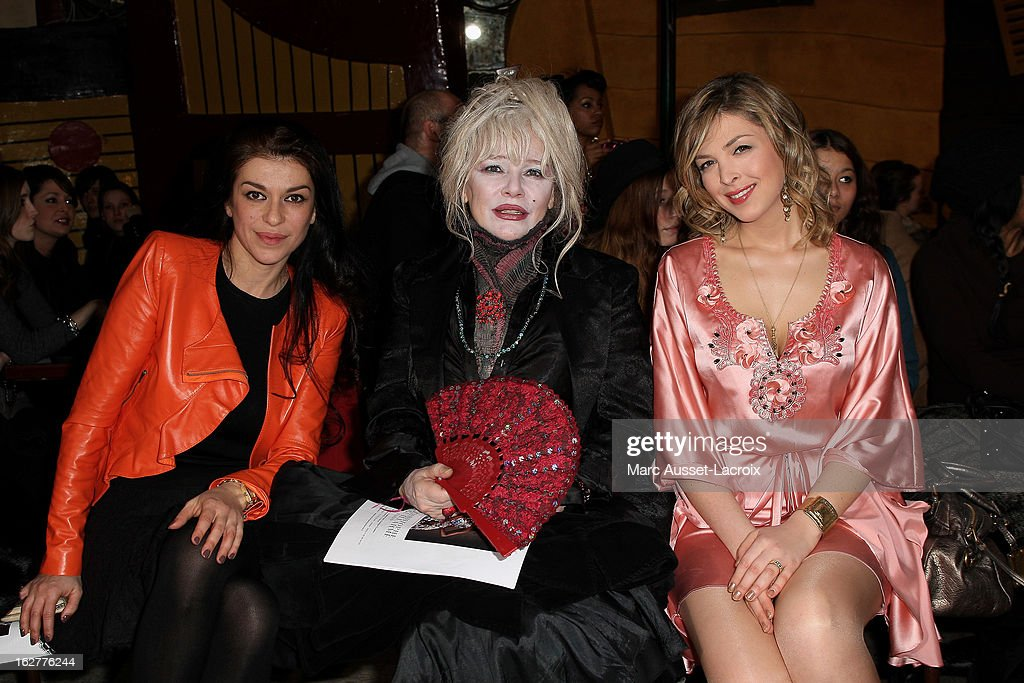 Jovanka Sopalovic and Armande Altai and Eleonore Boccara poses during the Christophe Guillarme Fall/Winter 2013 Ready-to-Wear show as part of Paris Fashion Week on February 26, 2013 in Paris, France.