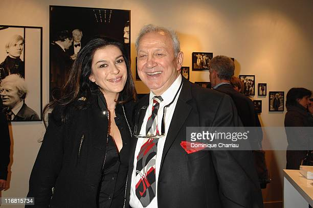 Jovanka Sopalovic and photographer Ron Galella attend the opening of Warhol by Galella at Le Bon Marche Paris on February 28 2008 in Paris France