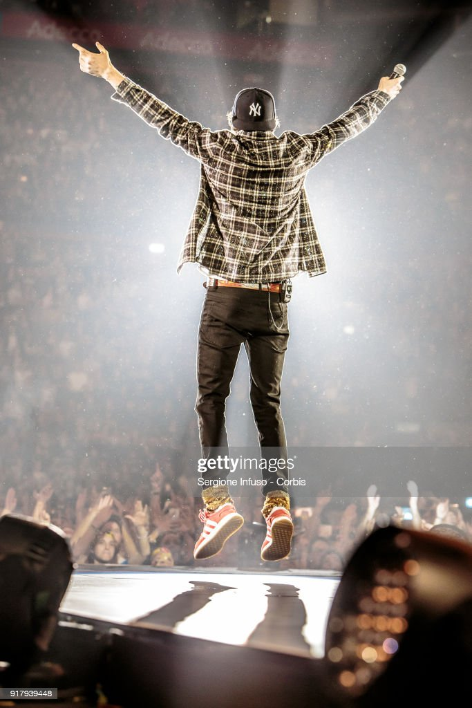 Jovanotti, born Lorenzo Cherubini, performs on stage at Mediolanum Forum of Assago on February 13, 2018 in Milan, Italy.