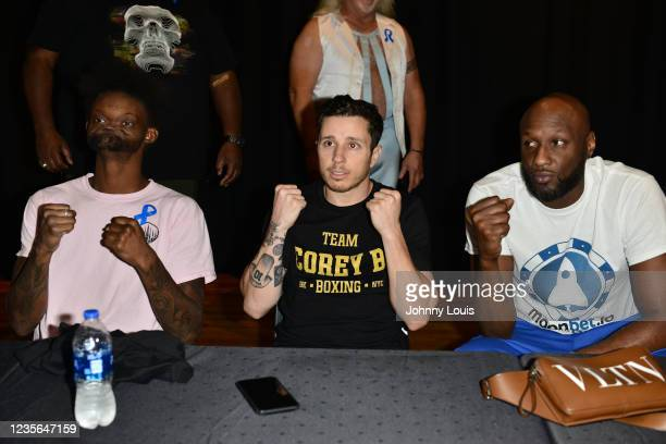 """Jovante """" Holy God"""" Carter, Corey B and Lamar Odom attend the Celebrity Boxing Weigh In at James L. Knight Center on October 1, 2021 in Miami,..."""