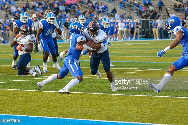Jovante Moffatt trying to stop Jarveon WIlliams from reaching the endzone during the NCAA football game between the UTSA Roadrunners and the MTSU...