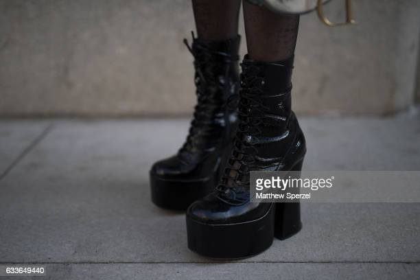 Jovel Ramos is seen attending Palomo Spain while wearing Jeffery Campbell shoes on February 2 2017 in New York City