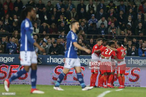 Jovetic Steven celebrates with teammate during French Ligue 1 football match between Strasbourg and Monaco on March 9 2018 at the Meinau stadium in...