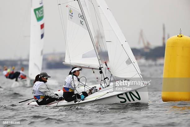 Jovina Choo of Singapore and Amanda Ng of Singapore compete in the Women's 470 class on Day 5 of the Rio 2016 Olympic Games at the Marina da Gloria...