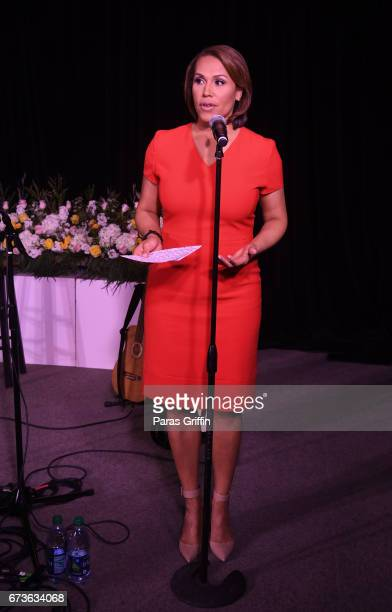 Jovita Moore speaks onstage at VH1 Save The Music Foundation's Musically Mastered Menu Atlanta with Hailey Knox and Chef Jennifer Hill Booker at...