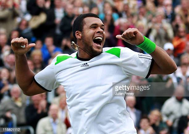 JoWilfred Tsonga of France celebrates after winning his Men's Singles quarter final match against Rafael Nadal of Spain on day five of the AEGON...