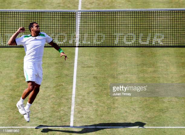 JoWilfred Tsonga of France celebrates after winning his Men's Singles semi final match against James Ward of Great Britain on day six of the AEGON...