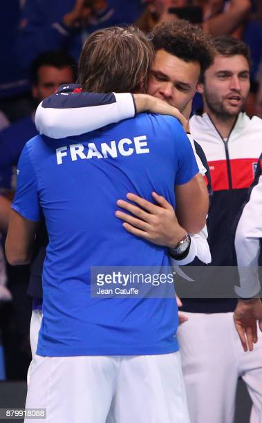 JoWilfried Tsonga and Lucas Pouille of France celebrate winning the Davis Cup during day 3 of the Davis Cup World Group final between France and...