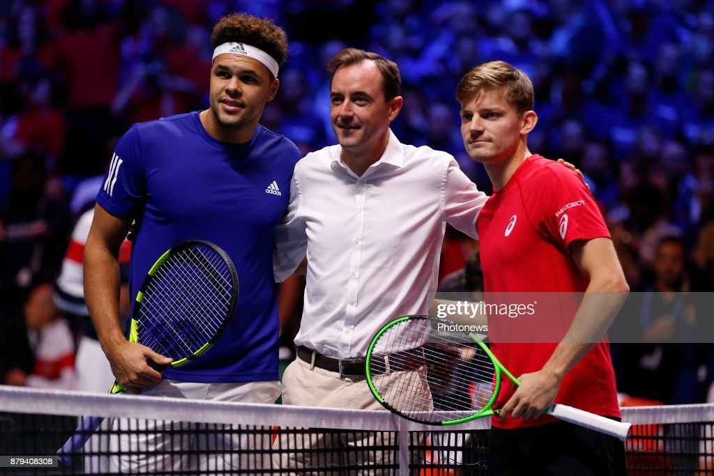 Jo-Wilfried Tsonga (FRA) David Goffin (BEL) during the Davis Cup World Group Final match between France and Belgium on November 26, 2017 in Lille, France, .