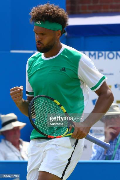 Jo-Wilfried Tsonga FRA against Gilles Muller LUX during Round Two match on the third day of the ATP Aegon Championships at the Queen's Club in west...