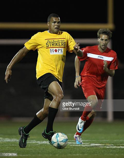 JoWilfried Tsonga of ATP World Tour Allstars in action during the Hope Match for Japan between ATP World Tour Allstars and Fort Lauderdale Strikers...