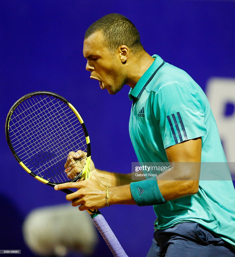 Jo-Wilfried Tsonga of France celebrates a point during a match between Leonardo Mayer of Argentina and Jo-Wilfried Tsonga of France as part of ATP Argentina Open at Buenos Aires Lawn Tennis Club on February 10, 2016 in Buenos Aires, Argentina.