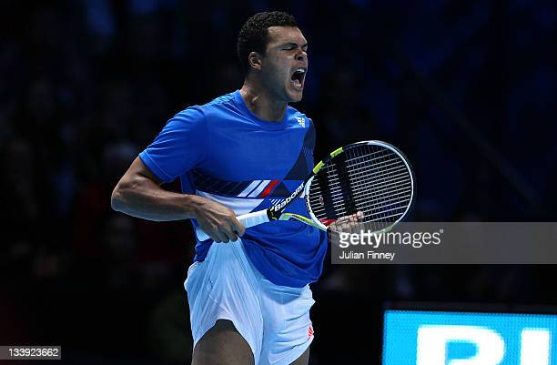JoWilfried Tsonga of France celebrates a point during the men's singles round match against Mardy Fish of USA during the Barclays ATP World Tour...