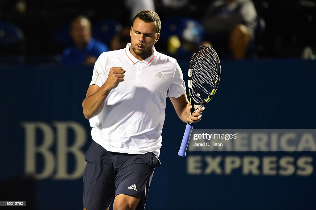 Jo-Wilfried Tsonga of France celebrates after after a point against Denis Istomin of Uzbekistan during the second day of the Winston-Salem Open at Wake Forest University on August 25, 2015 in Winston-Salem, North Carolina.