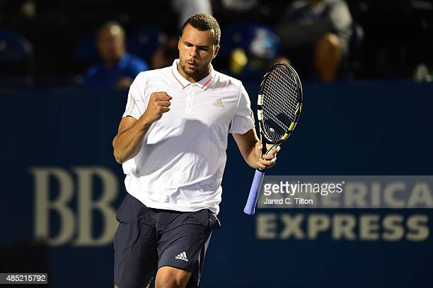 JoWilfried Tsonga of France celebrates after after a point against Denis Istomin of Uzbekistan during the second day of the WinstonSalem Open at Wake...