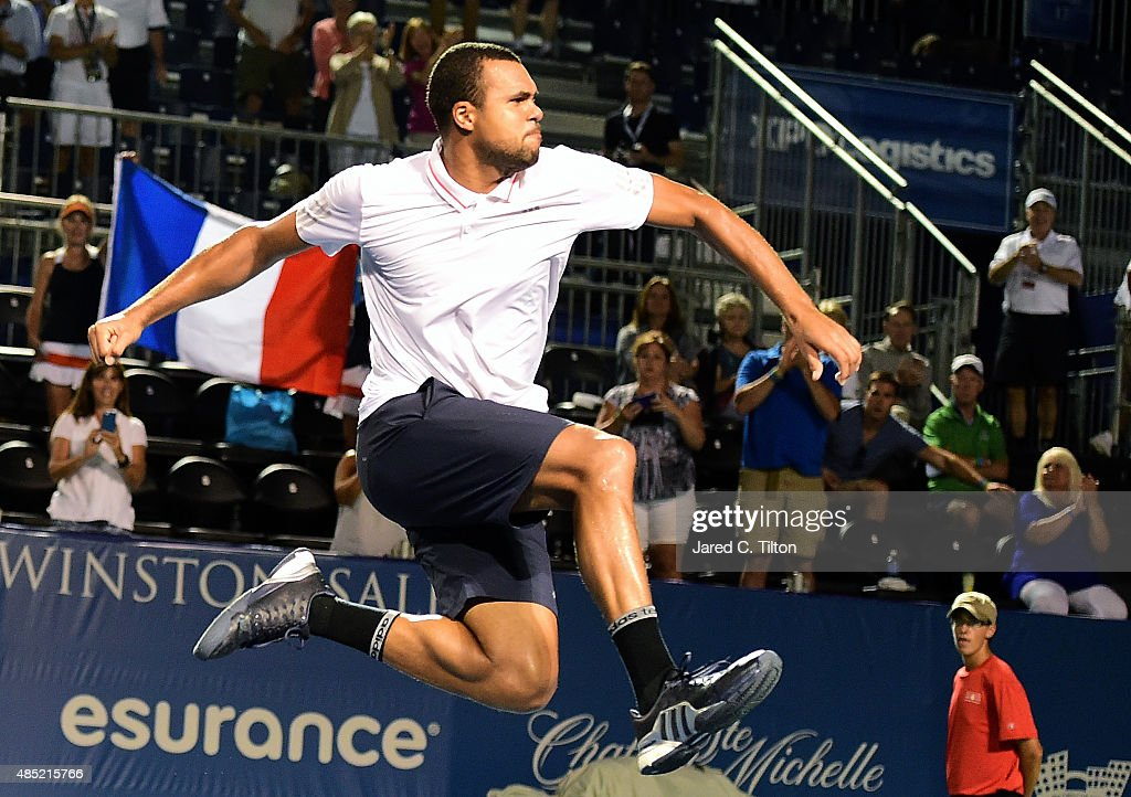 Jo-Wilfried Tsonga of France celebrates after defeating Denis Istomin of Uzbekistan during the second day of the Winston-Salem Open at Wake Forest University on August 25, 2015 in Winston-Salem, North Carolina.
