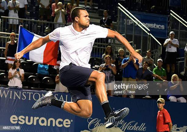 JoWilfried Tsonga of France celebrates after defeating Denis Istomin of Uzbekistan during the second day of the WinstonSalem Open at Wake Forest...