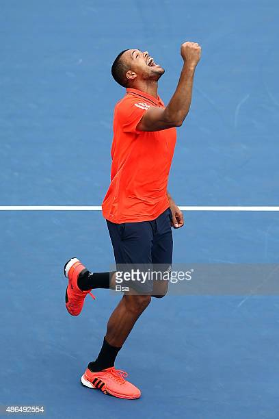 JoWilfried Tsonga of France celebrates after defeating Sergiy Stakhovsky of the Ukraine during their Men's Singles Third Round match on Day Five of...