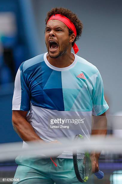 JoWilfried Tsonga of France celebrates after win over Alexander Zverev of Germany during the Men's singles third round match on day five of Shanghai...