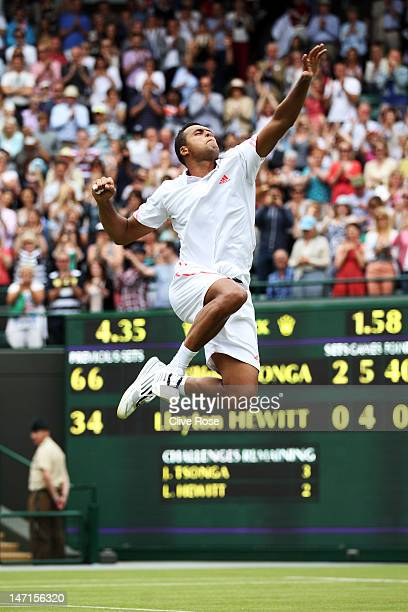 JoWilfried Tsonga of France celebrates after winning his Gentlemen's Singles first round match against Lleyton Hewitt of Australia on day two of the...