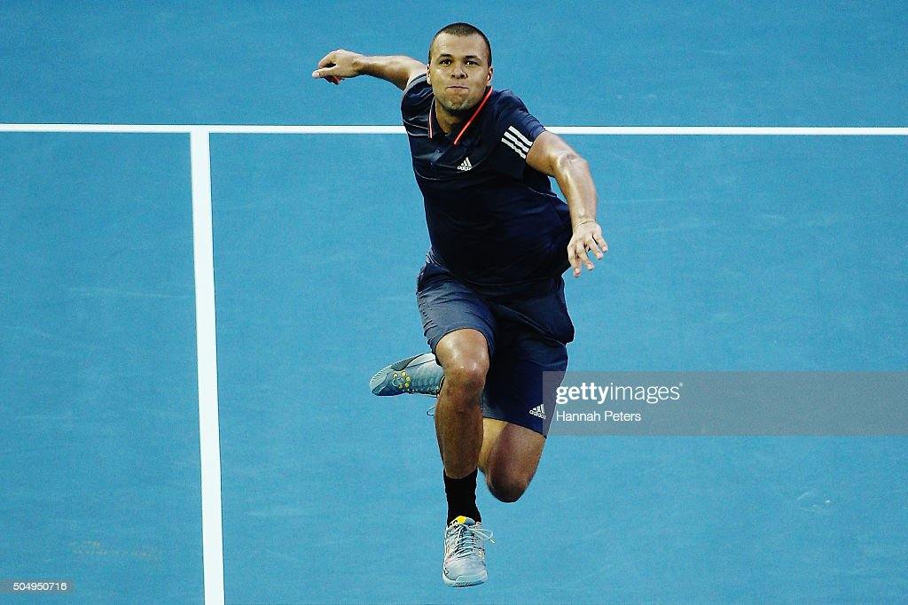 Jo-Wilfried Tsonga of France celebrates after winning his second round singles match against Fabio Fognini of Italy during the 2016 ASB Classic at the ASB Tennis Arena on January 14, 2016 in Auckland, New Zealand.