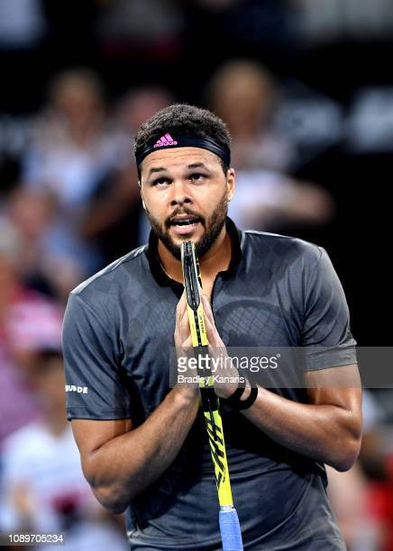 JoWilfried Tsonga of France celebrates after winning the match against Alex De Minaur of Australia during day six of the 2019 Brisbane International...