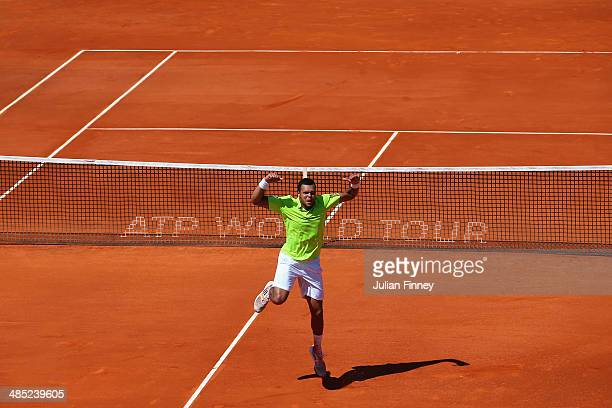 JoWilfried Tsonga of France celebrates defeating Fabio Fognini of Italy during day five of the ATP Monte Carlo Rolex Masters Tennis at MonteCarlo...