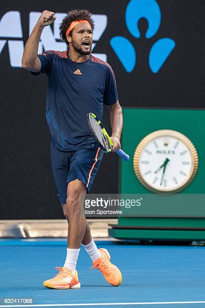 JoWilfried Tsonga of France celebrates during the fourth round of the 2017 Australian Open on January 22 at Melbourne Park Tennis Centre in Melbourne...